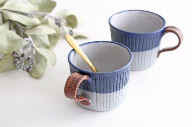 しのぎマグカップ 陶器 工房ことりの やちむん 画像6