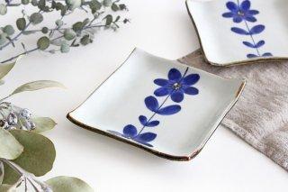 4寸正角皿 手描き青花 磁器 波佐見焼商品画像