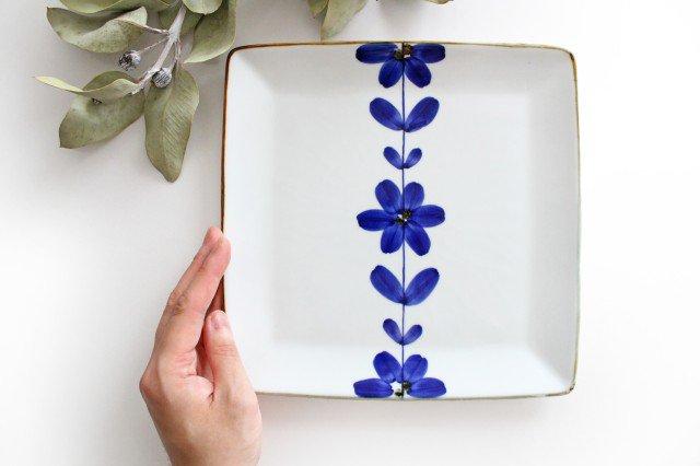 7寸正角皿 手描き青花 磁器 波佐見焼 画像4