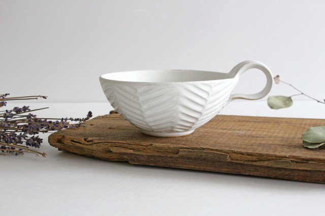 ヘリンボーン スープカップ マットホワイト 陶器 わかさま陶芸 益子焼