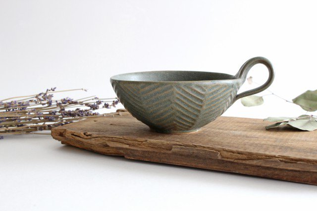 ヘリンボーン スープカップ オリーブグリーン 陶器 わかさま陶芸 益子焼
