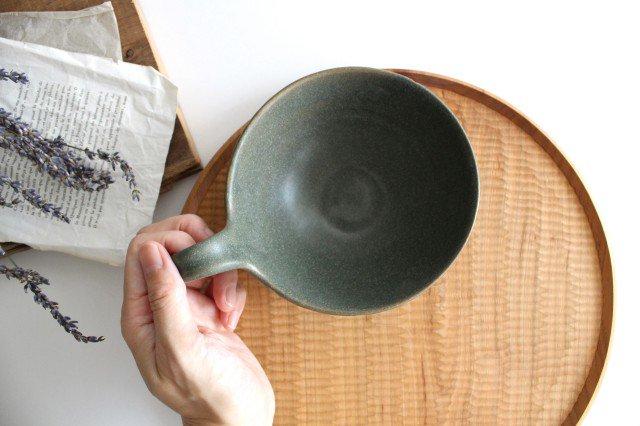 ヘリンボーン スープカップ オリーブグリーン 陶器 わかさま陶芸 益子焼 画像2