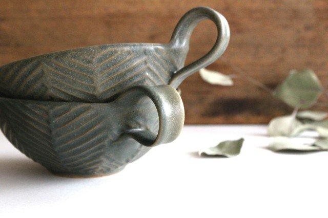 ヘリンボーン スープカップ オリーブグリーン 陶器 わかさま陶芸 益子焼 画像4