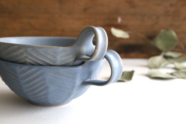 ヘリンボーン スープカップ ブルーグレー 陶器 わかさま陶芸 益子焼 画像4