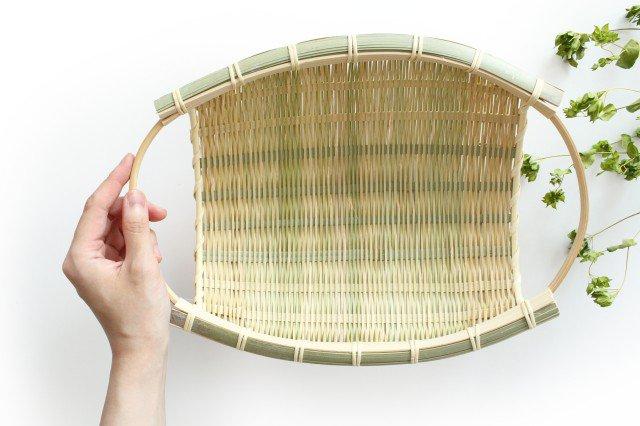 楕円ざる(両口小判) 大 青竹 籐巻 画像3