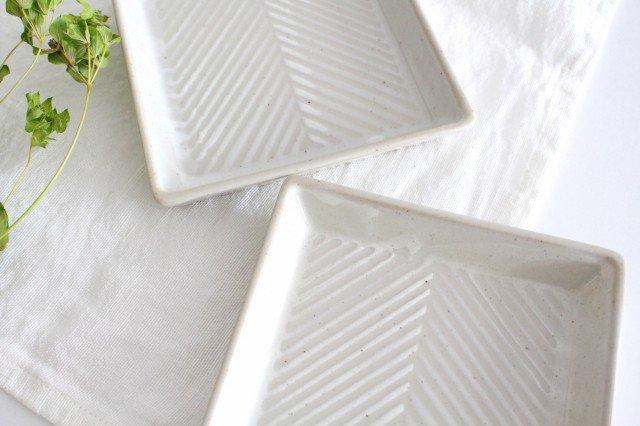 波佐見焼 ORIME ヘリンボーン 正角皿 ホワイト 陶器 画像5