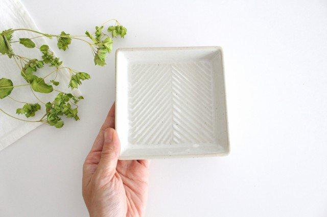 波佐見焼 ORIME ヘリンボーン 正角皿 ホワイト 陶器 画像6