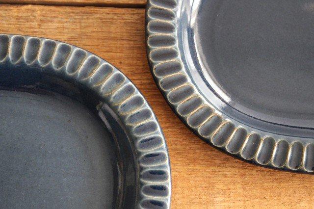 しのぎオーバル平皿 ネイビー 陶器 陶房マルヨウ 画像4