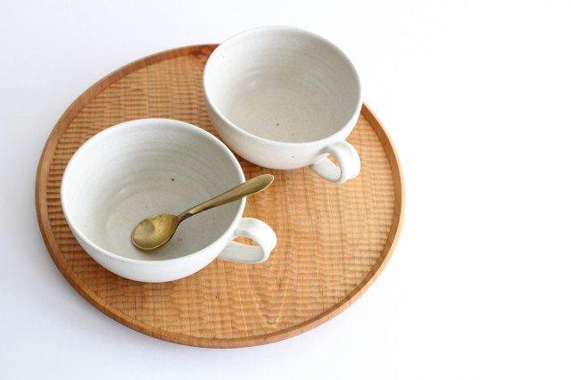 手付きボウル 中 ホワイト 陶器 陶房マルヨウ 画像4
