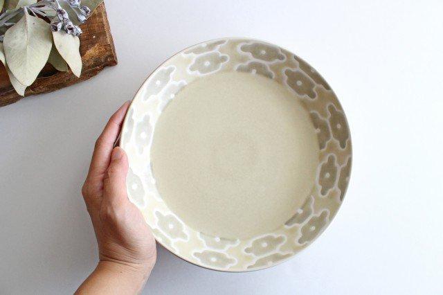 丸皿中 グレーフラワー 磁器 すこし屋 砥部焼 画像4