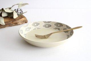 丸皿中 グレーフラワー 磁器 すこし屋 砥部焼商品画像