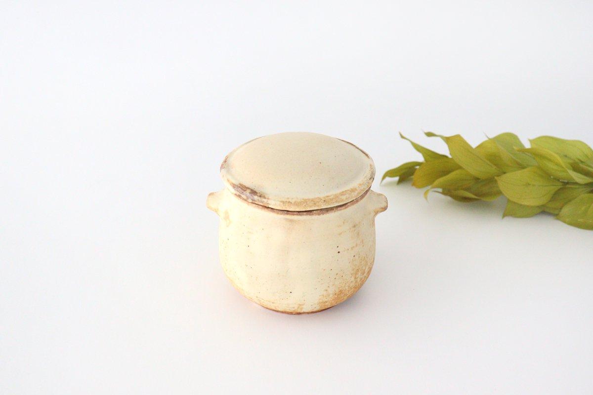粉福 耳付きスープボウル honeypot 蓋つき 陶器 木のね
