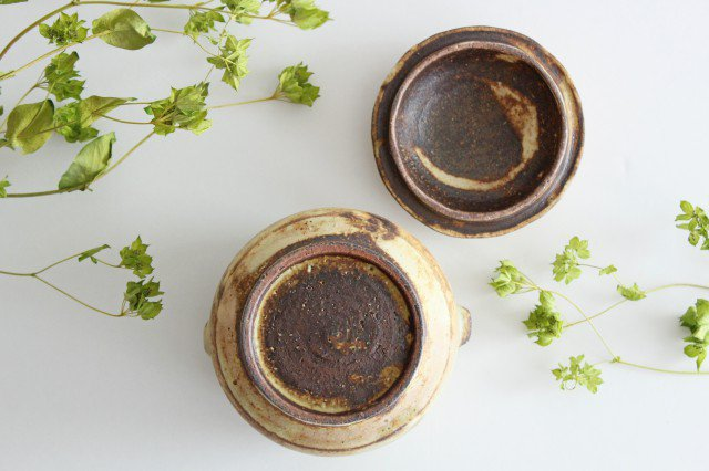 粉福 耳付きスープボウル honeypot 蓋つき 陶器 木のね 画像6