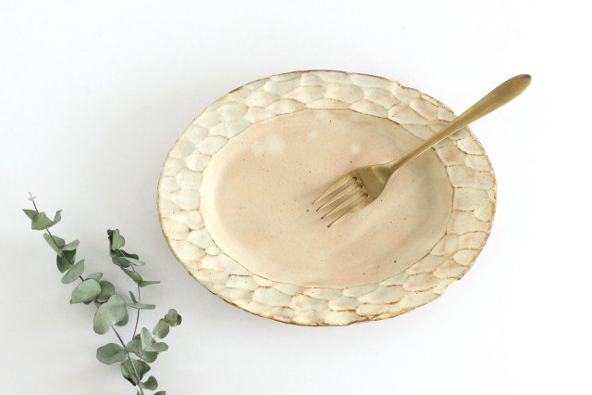 粉福 楕円リム皿 M 陶器 木のね