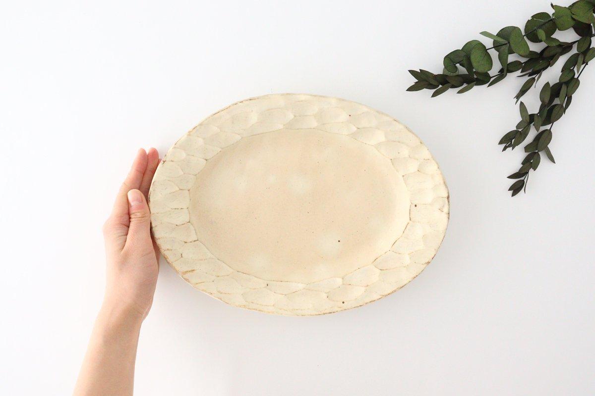 粉福 楕円リム皿 M 陶器 木のね 画像2