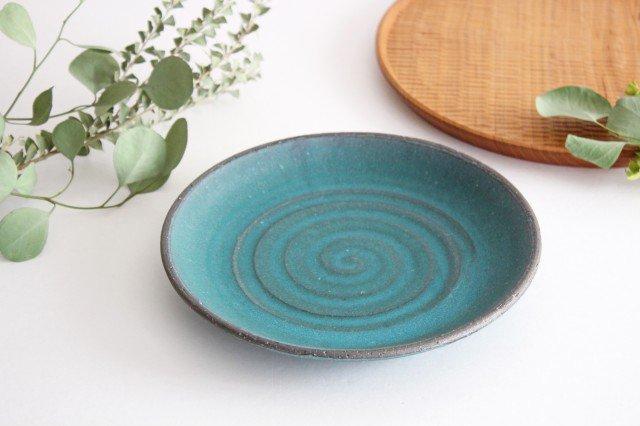 7寸皿 ブルー 陶器 オアシス 美濃焼 画像2