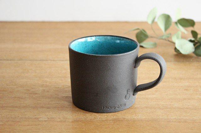 美濃焼 黒土鍵マグ ブルートパーズ 陶器