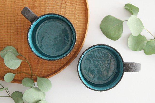 美濃焼 黒土鍵マグ ブルートパーズ 陶器 画像3