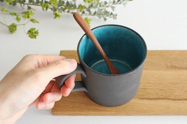 美濃焼 黒土鍵マグ ブルートパーズ 陶器 画像5