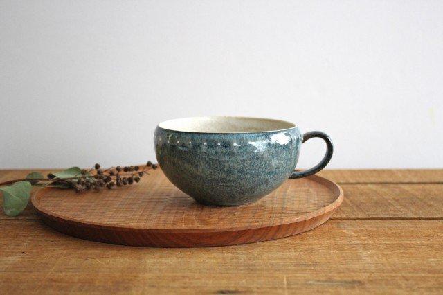 美濃焼 ドットライン スープカップ ブルー 陶器