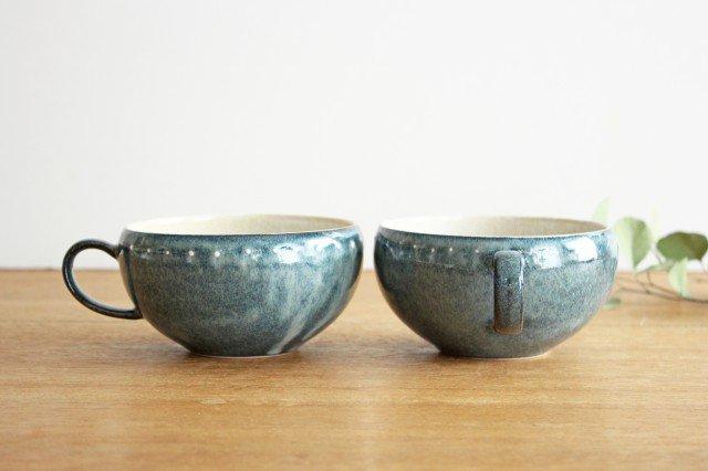 美濃焼 ドットライン スープカップ ブルー 陶器 画像3