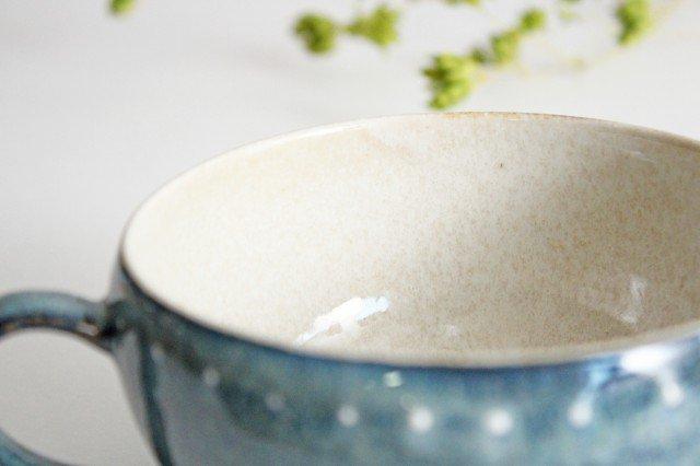 美濃焼 ドットライン スープカップ ブルー 陶器 画像5