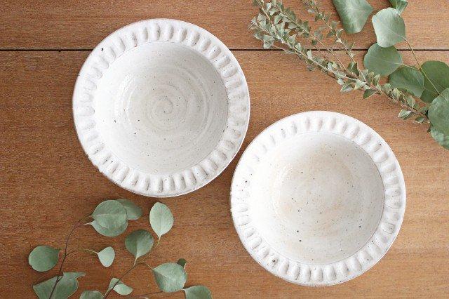 美濃焼 ろくろ粉引 リムボウル 陶器 画像2