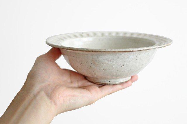 美濃焼 ろくろ粉引 リムボウル 陶器 画像3