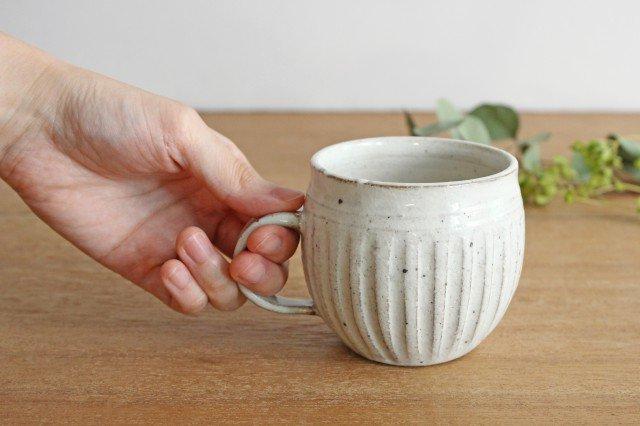 美濃焼 ろくろ粉引 そぎまるマグ 陶器 画像2