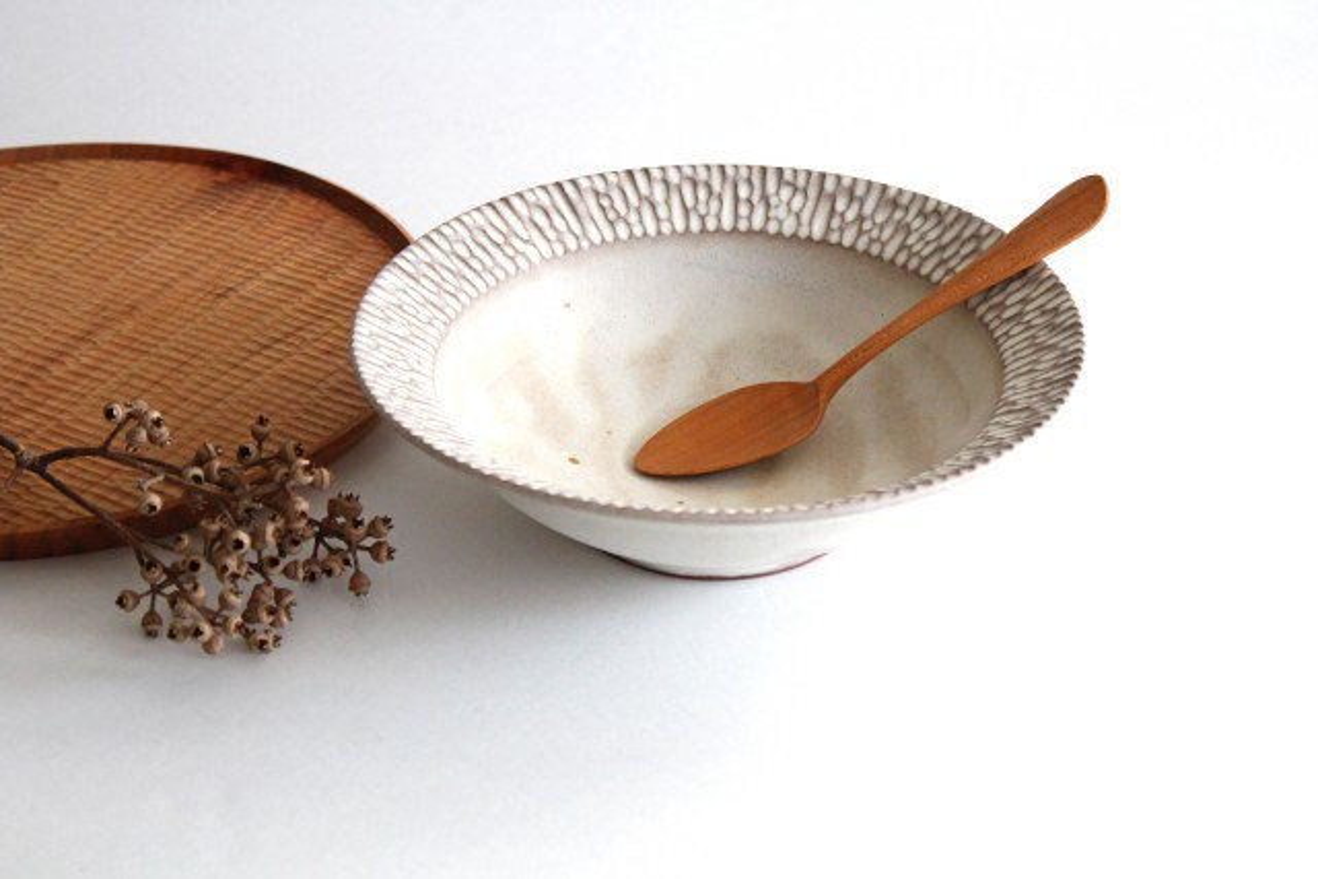 リム平鉢 L さざなみ 陶器 シモヤユミコ