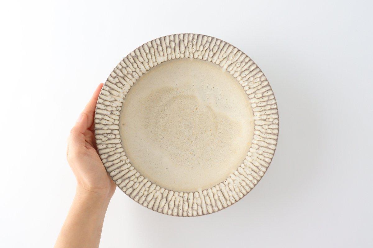 リム平鉢 L さざなみ 陶器 シモヤユミコ 画像2