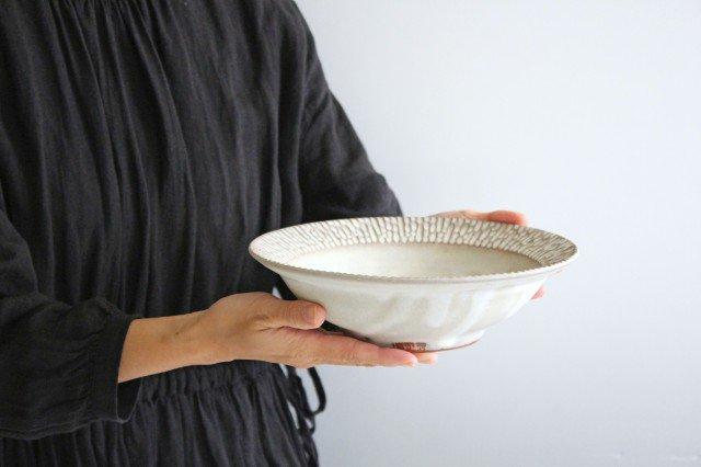 リム平鉢 L さざなみ 陶器 シモヤユミコ 画像3