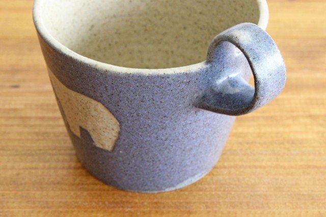 上とってマグ シロクマ 紺 陶器 苔色工房 田中遼馬 画像4