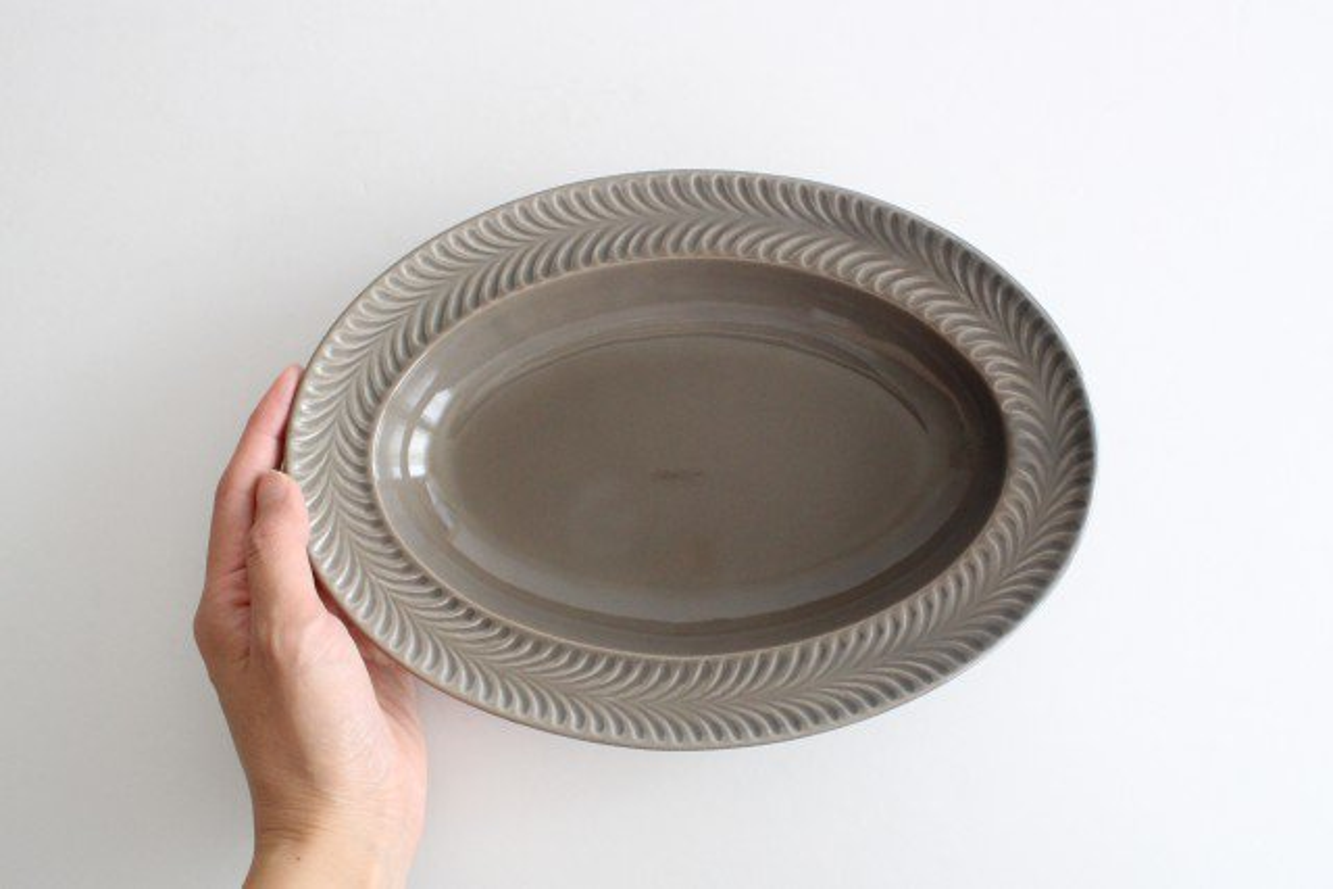 オーバル皿 グレー 陶器 ローズマリー 波佐見焼 画像5