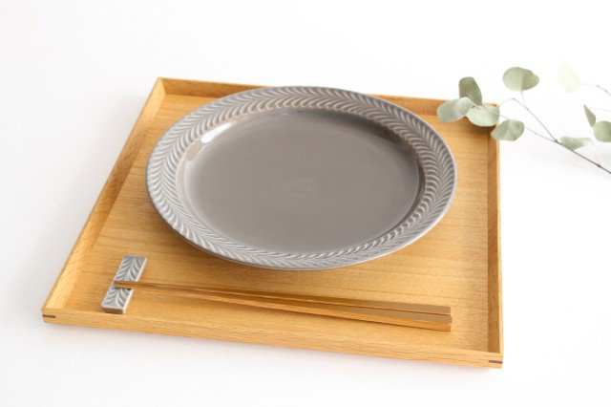 24cmプレート グレー 陶器 ローズマリー 波佐見焼 画像2