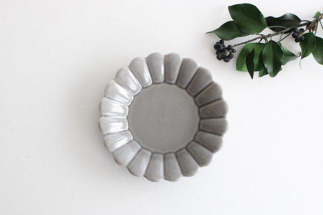 キクワリ 15cm丸皿 グレー 磁器 波佐見焼