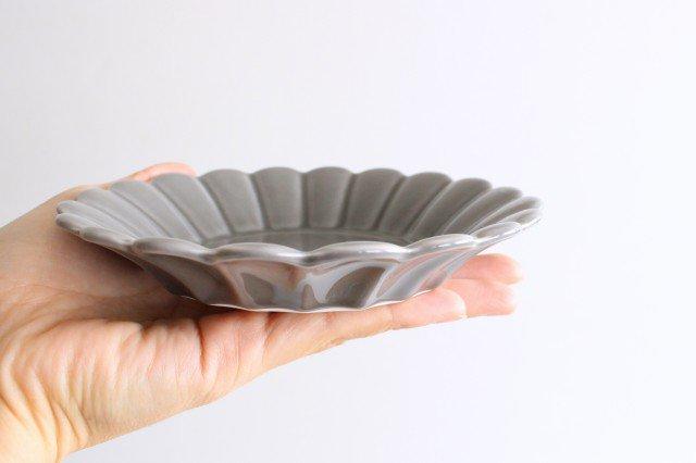 キクワリ 15cm丸皿 グレー 磁器 波佐見焼 画像4