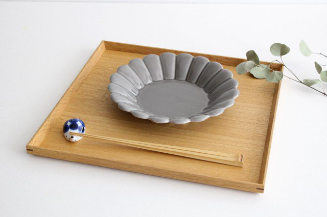 19cm丸皿 グレー 磁器 キクワリ 波佐見焼 画像6