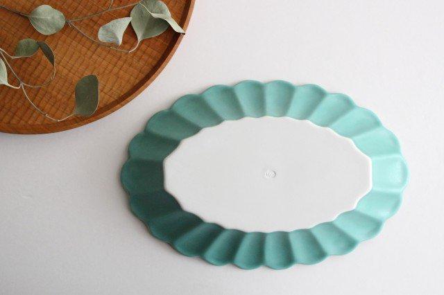 キクワリ 楕円皿 大 ミントマット 磁器 波佐見焼 画像6