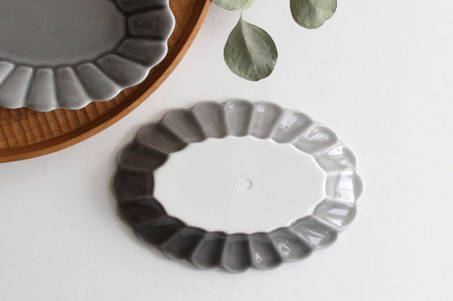楕円皿 小 グレー 磁器 キクワリ 波佐見焼 画像6