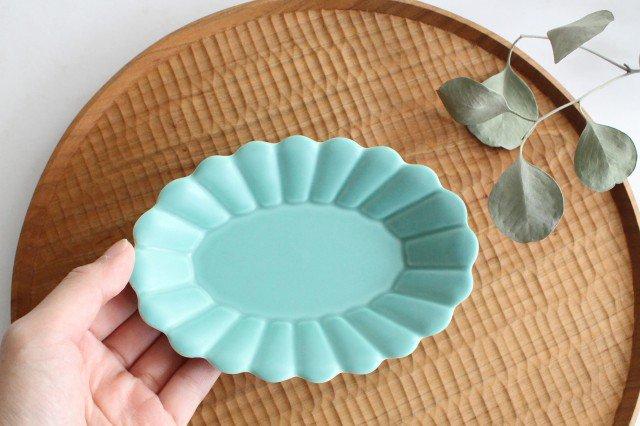 キクワリ 楕円皿 小 ミントマット 磁器 波佐見焼 画像6
