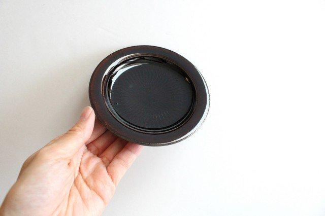 リム飛びカンナ豆皿 アメ 陶器 圭秀窯 小石原焼 画像2