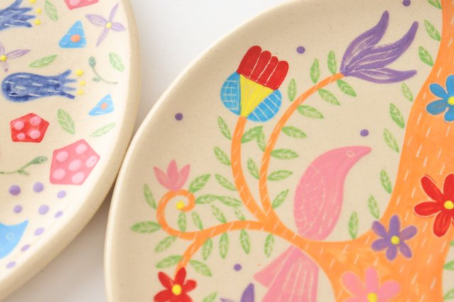 【一点もの】色絵付け大皿 陶器 工房双子堂 やちむん 画像6