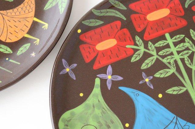 【一点もの】黒土色絵付け大皿 陶器 工房双子堂 やちむん 画像6