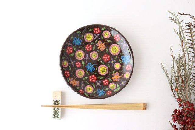 【一点もの】黒土色絵付け丸皿 陶器 工房双子堂 やちむん 画像5