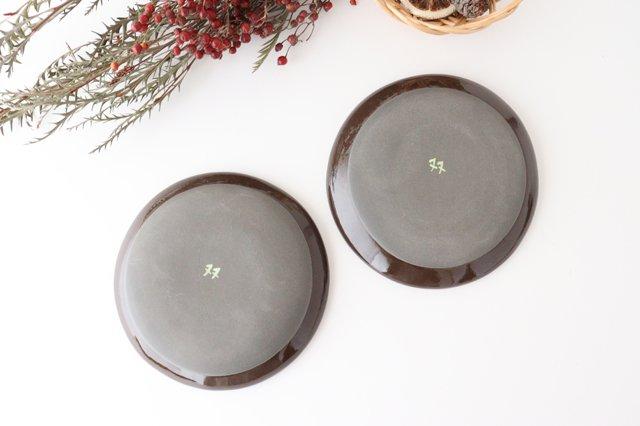 【一点もの】黒土色絵付け丸皿 陶器 工房双子堂 やちむん 画像6