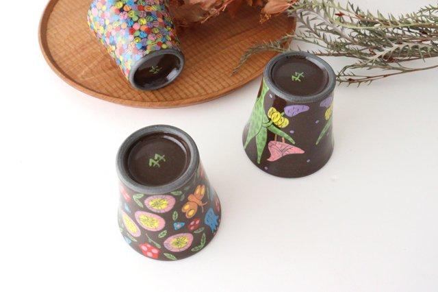 【一点もの】黒土色絵付けフリーカップ 陶器 工房双子堂 やちむん 画像3