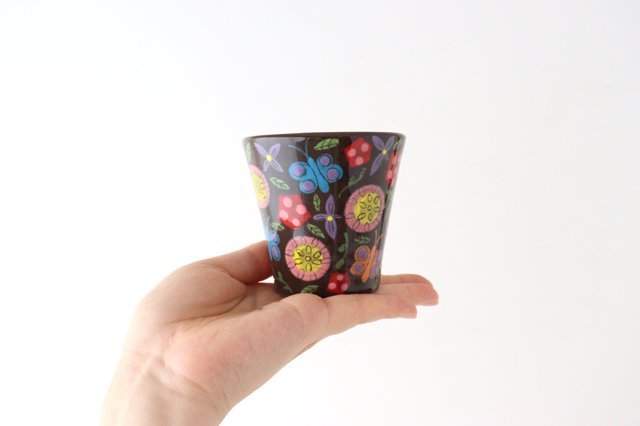 【一点もの】黒土色絵付けフリーカップ 陶器 工房双子堂 やちむん 画像4