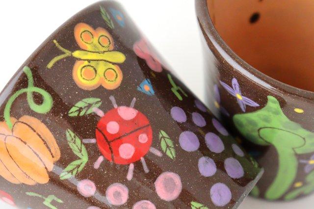 【一点もの】黒土色絵付けフリーカップ 陶器 工房双子堂 やちむん 画像5