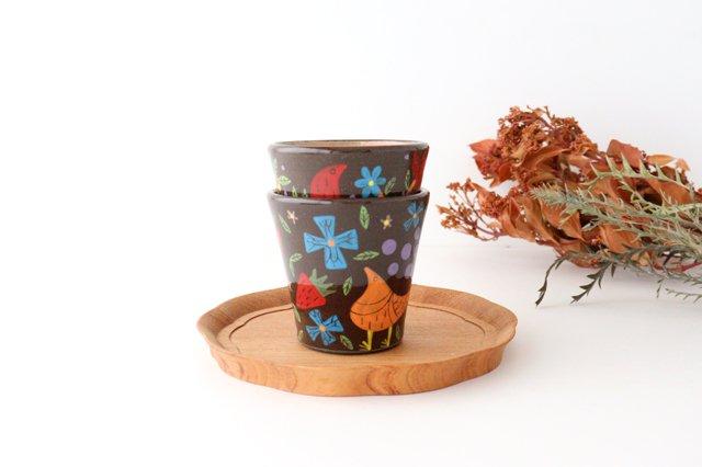 【一点もの】黒土色絵付けフリーカップ 陶器 工房双子堂 やちむん 画像6